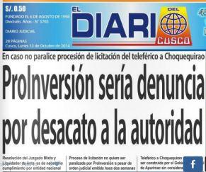 DEMANDA CONSTITUCIONAL FRENA TELEFÉRICO CHOQUEQUIRAO
