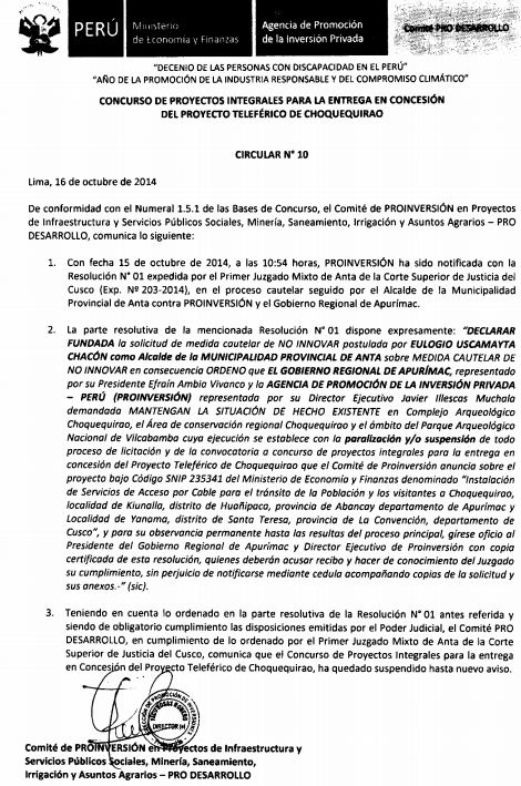 SUSPENDEN LICITACIÓN DE TELEFÉRICO DE CHOQUEQUIRAO